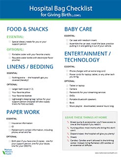 Printable Pregnancy Hospital Bag Checklist - What to pack in your hospital birth bag